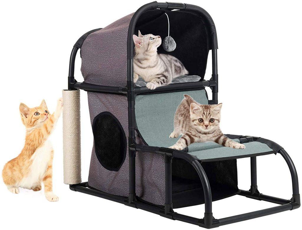 Mueble para gatos de dos pisos. casa para gatos con rascador
