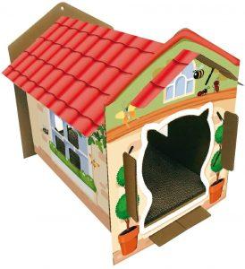Colorida casa de carton para gatos